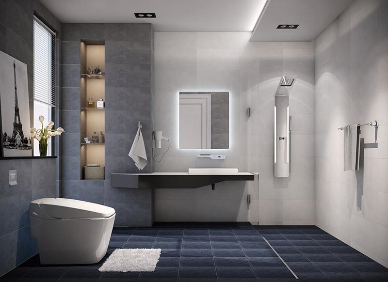 Mẫu nhà vệ sinh cao cấp mang phong cách hiện đại sang trọng