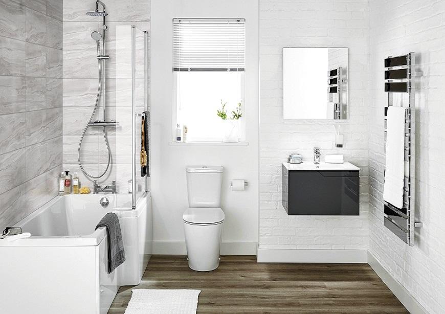 Mẫu nhà vệ sinh kết hợp bồn tắm đơn giản và sang trọng
