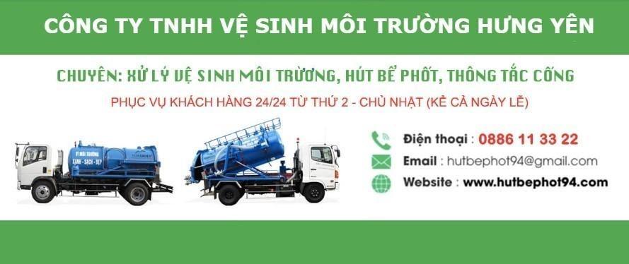 Dịch vụ hút bể phốt 94 tại Hưng Yên.