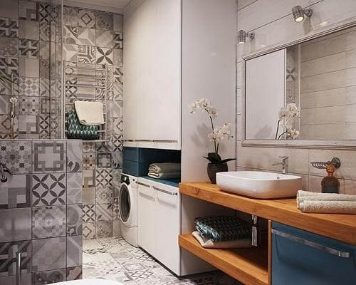 Nếu bạn yêu sự cổ điển hãy chọn gạch ốp nhà vệ sinh với họa tiết cổ điển